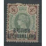 "1891 4d overprint with major uncatalogued variety Broken ""R"" in ""BRITISH""."