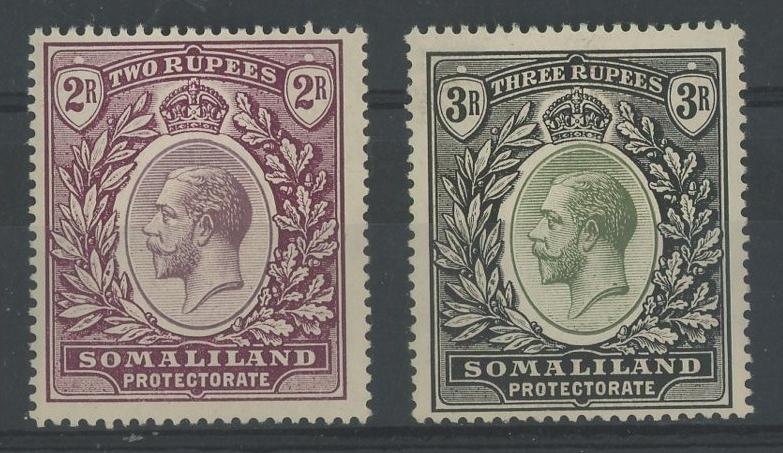 1921 2r & 3r Mint, slight crease on 3/-, otherwisefine.