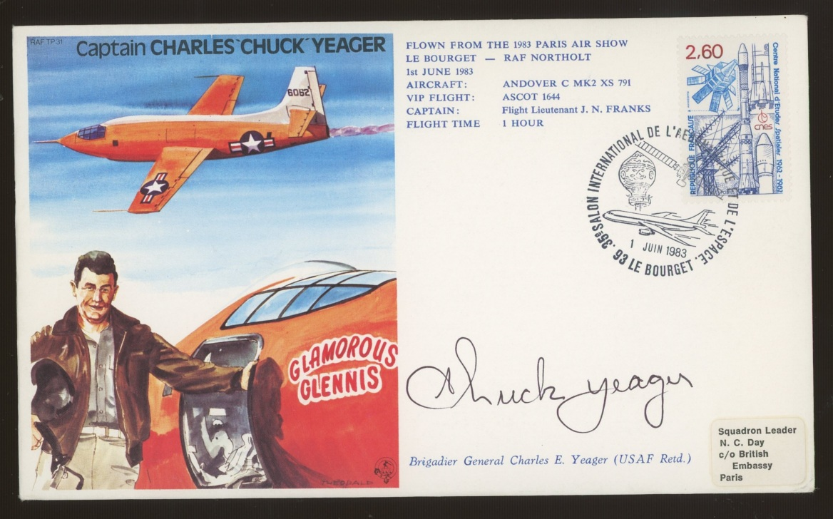 """Charles (""""Chuck"""") Yeager: Autographed on 1983 RAF cover featuring him. Address label, fine."""