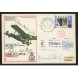 1972 RAF cover signed by 3 Luftwaffe aces (Hans Rossbach cover). Address label, fine.