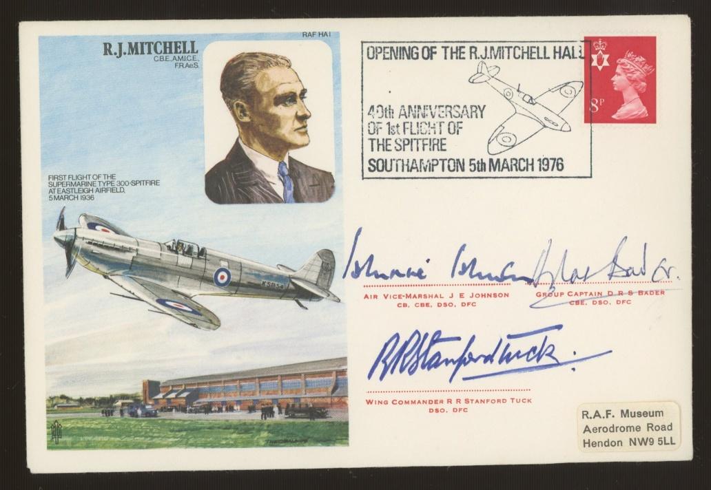 1976 RAF R.J.Mitchell Spitfire cover signed by Johnnie Johnson, Douglas Bader & Bob Stanford Tuck.