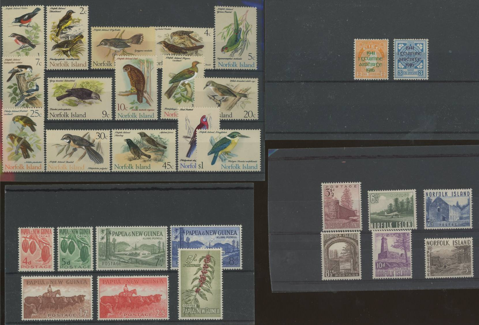 Ireland 1941 Easter Rising set U/M, Norfolk Is 1953 set M, 1970 Bird set M & PNG 1958 set M.