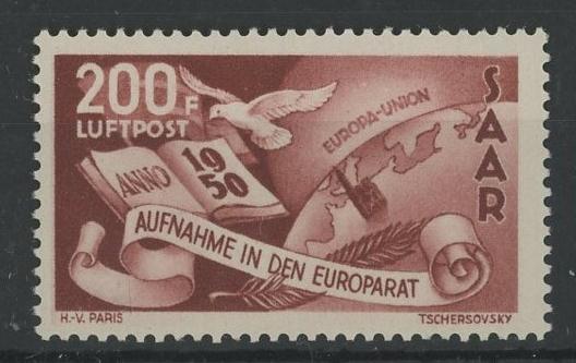 1950 Council of Europe 200f U/M, fine.