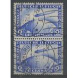 1928 Zeppelin 2m blue vertical pair used, fine.