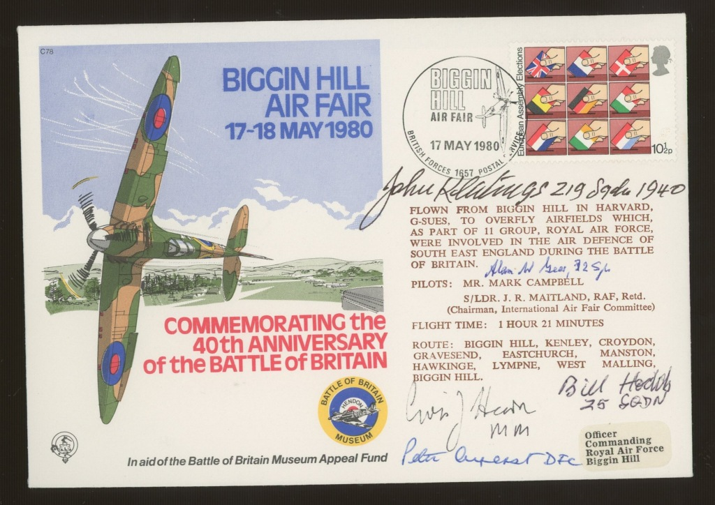 1980 RAF Battle of Britain cover signed by 5 Battle of Britain participants. Address label, fine.