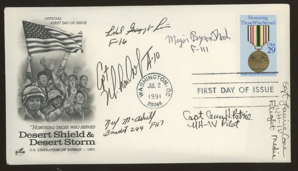 1991 USA Desert Storm FDC signed by 6 USAF Gulf participants. Unaddressed, fine.