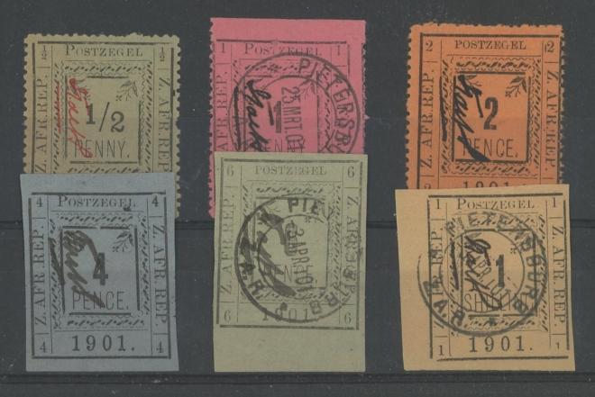 1901 used range to 1/- on stockcard (6)