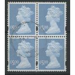 2003 £5 azure block of 4 F/U, fine.