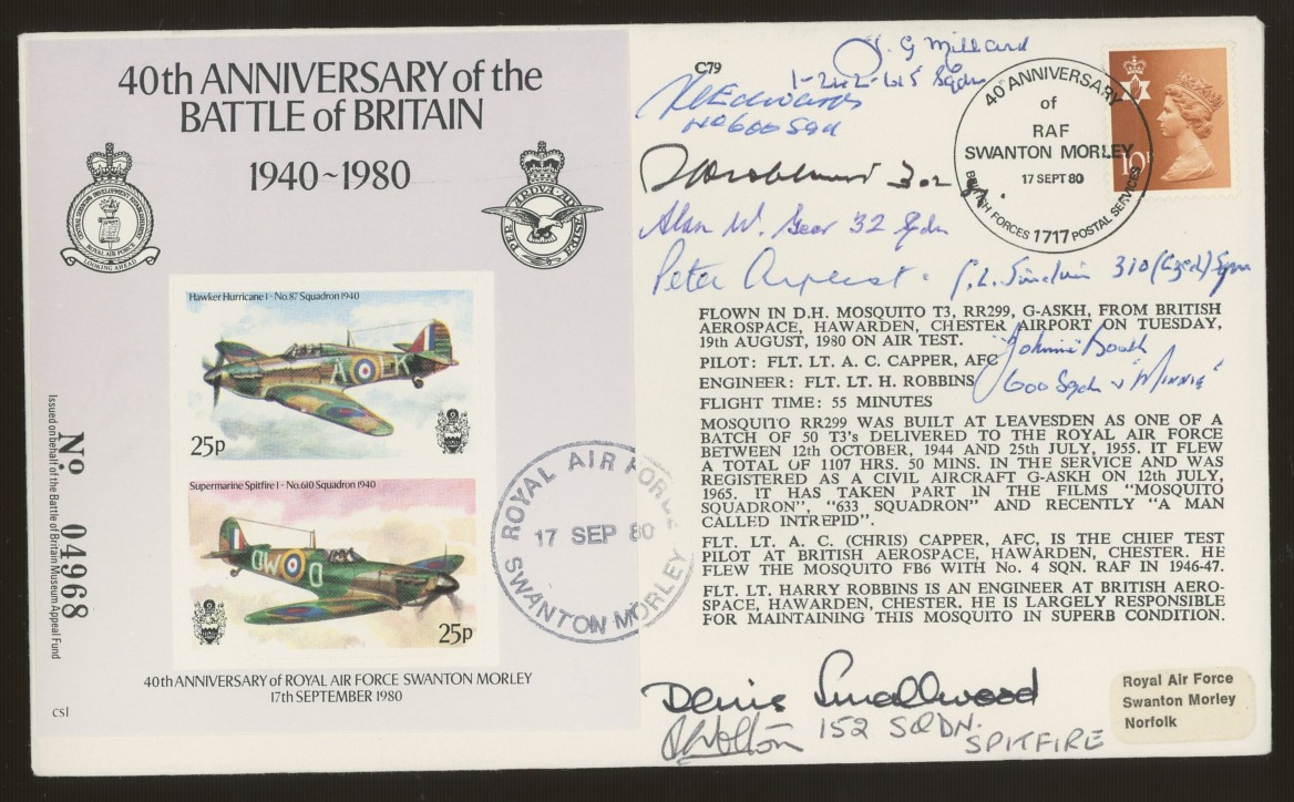 1980 Battle of Britain cover signed by 8 Battle of Britain participants. Address label, fine.
