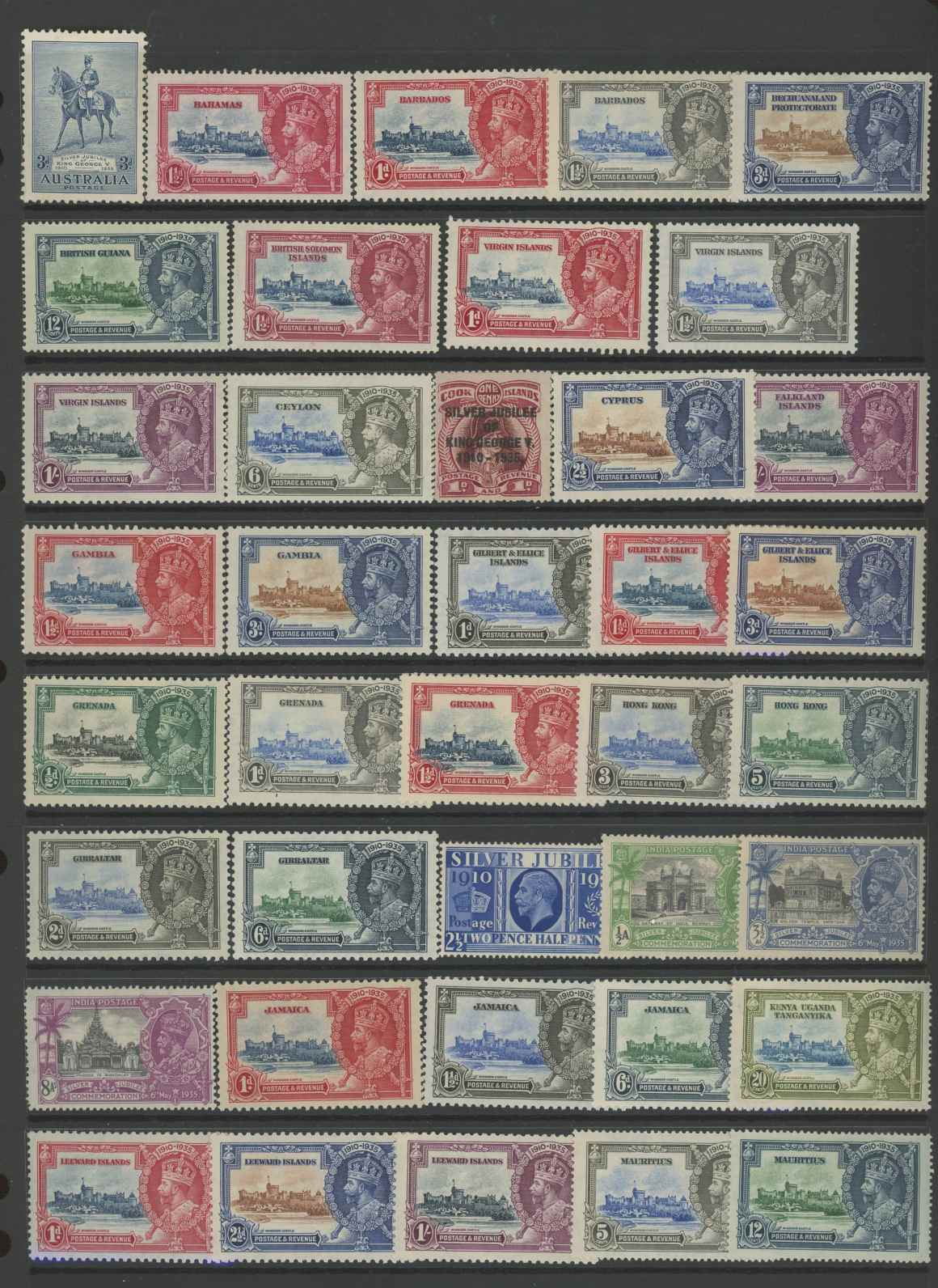 1935 Silver Jubilee odd values to 1/- Mint on Hagner sheets.