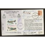 1980 RAF Battle of Britain cover signed by 13 Battle of Britain participants. Address label, fine.