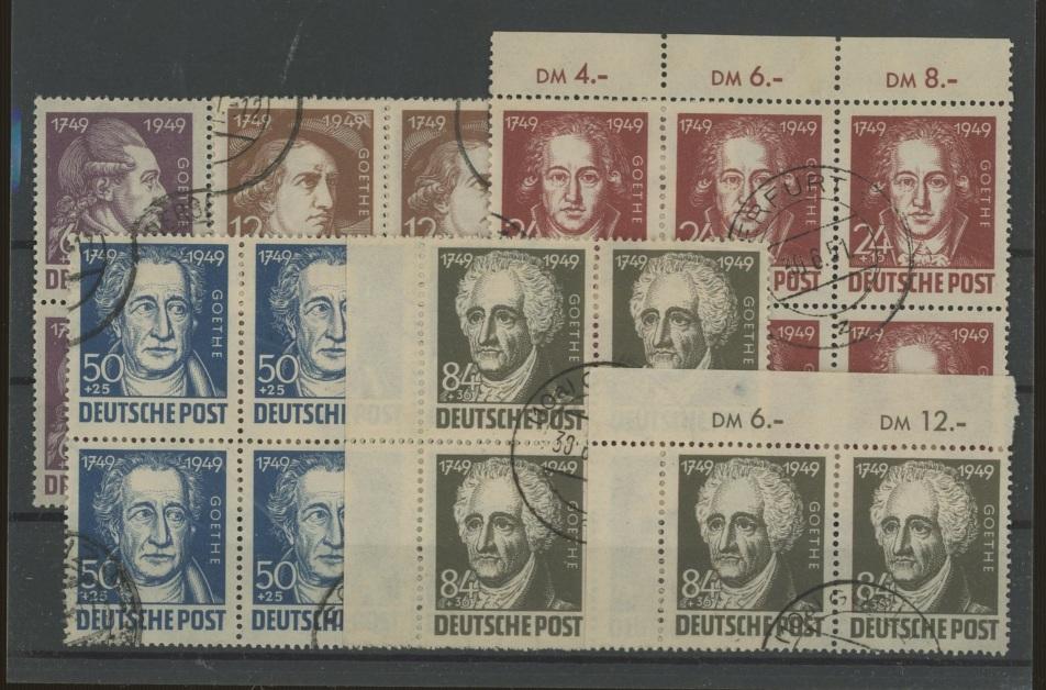 1949 Russian Zone Goethe set x 6 sets, mostly in blocks F/U.