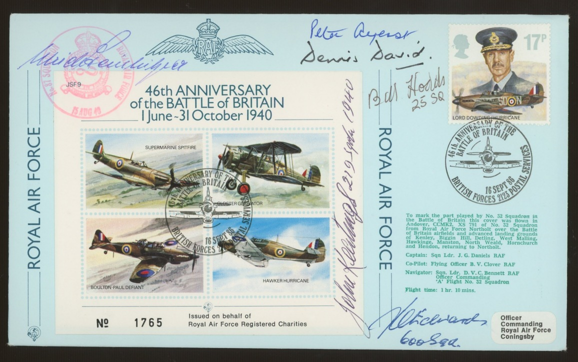 1986 RAF single value FDC signed by 7 Battle of Britain participants. Address label, fine.
