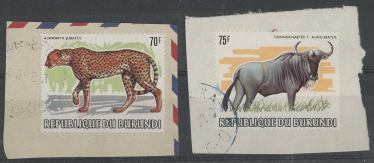 1982 Animals 70f Cheetah & 75f Wildebeest, both F/U on piece.