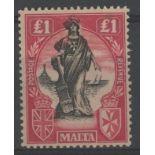 1925 £1 black & bright carmine (wmk upright) Mint, fine.