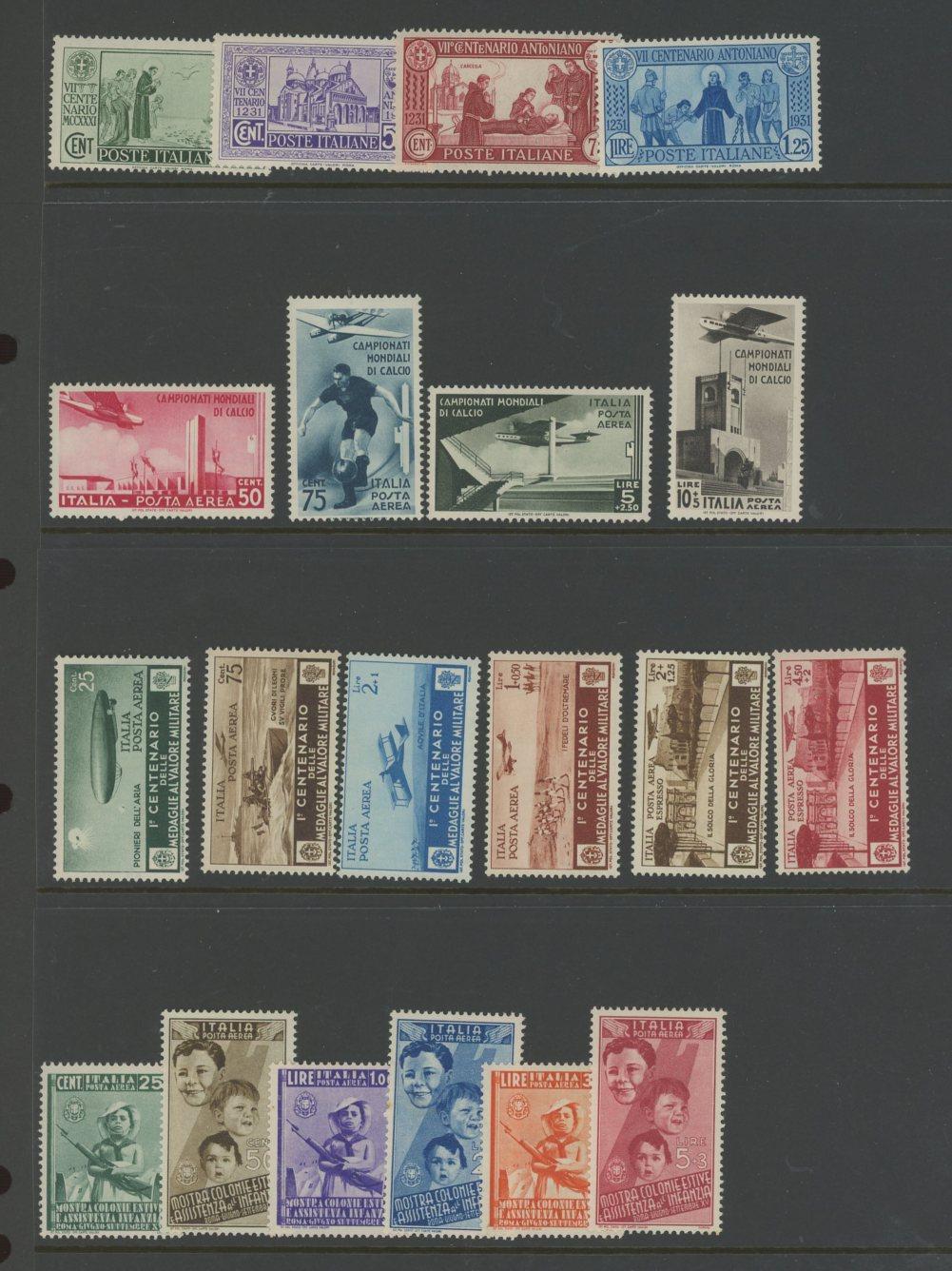 1931-37 Mint range of better sets on Hagner sheet.