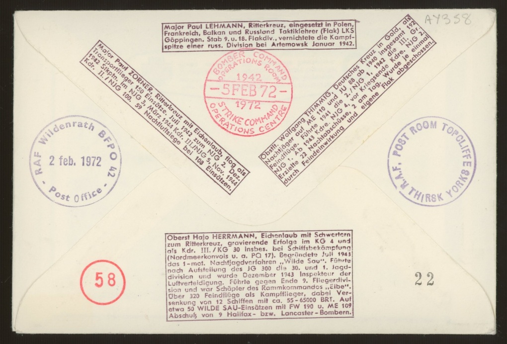 1972 RAF cover signed by 4 Luftwaffe aces (Hans Rossbach cover). Address label, fine. - Image 2 of 2