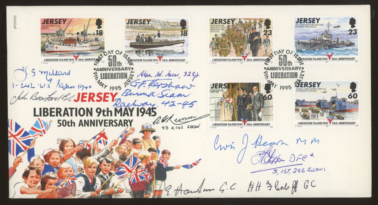 1995 Jersey Liberation FDC signed by 9 Battle of Britain participants. Unaddressed, fine.
