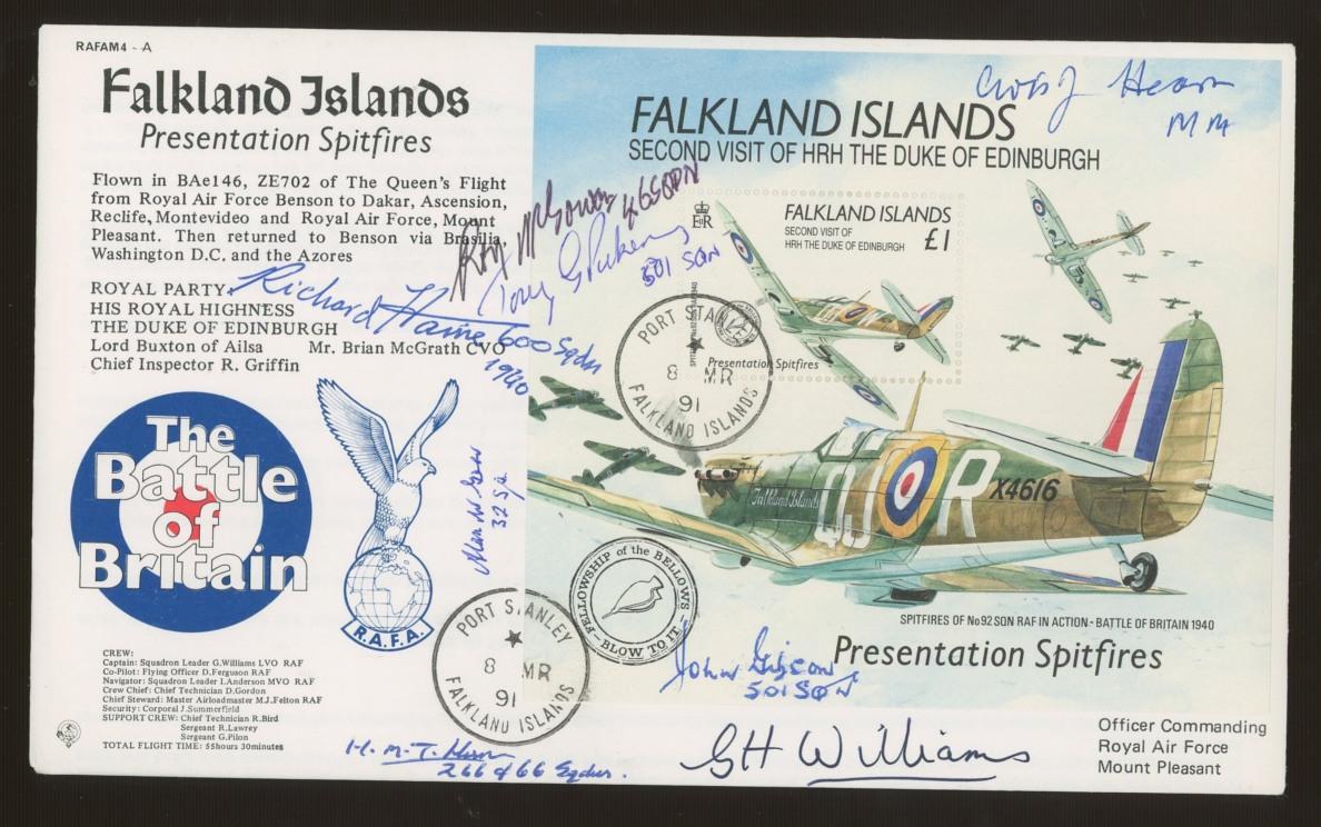1991 Falklands Presentation Spitfires FDC signed by 7 Battle of Britain participants.