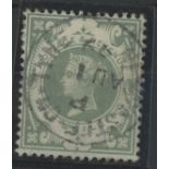 1887-92 1/- dull green F/U with central cds, fine.