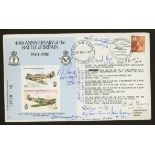 1980 Battle of Britain cover signed by 9 Battle of Britain participants. Address label, fine.