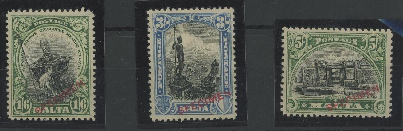 "1926-27 1/6d, 3/- & 5/- all overprinted ""SPECIMEN"" Mint, fine. SG 167s, 170s & 171s."