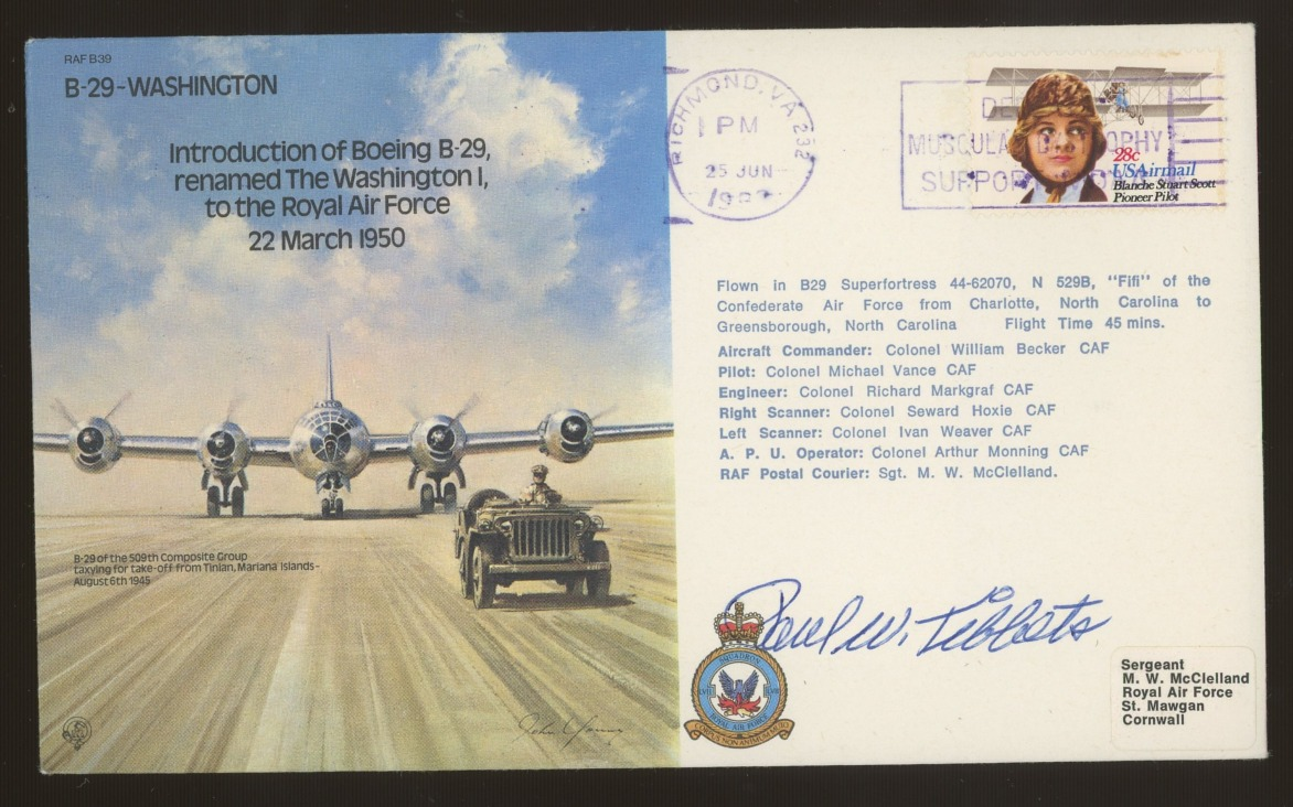 Paul Tibbetts: Autographed on 1982 RAF cover. Address label, fine.