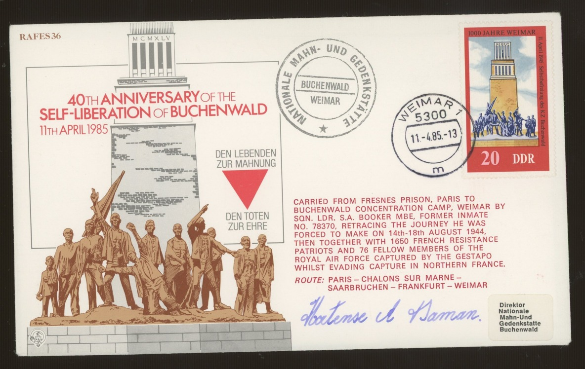 1985 Liberation of Buchenwald cover signed by Belgian Resistance heroine Hortense Daman Clews.