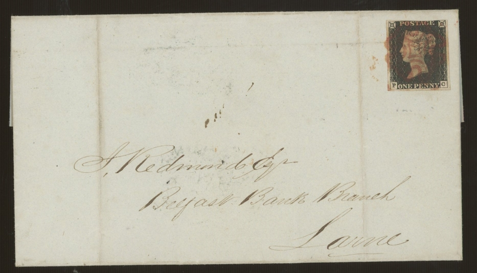 1840 1d black, P-C, F/U on entire to Larne with red maltese cross, 3 margins, cut into at top,