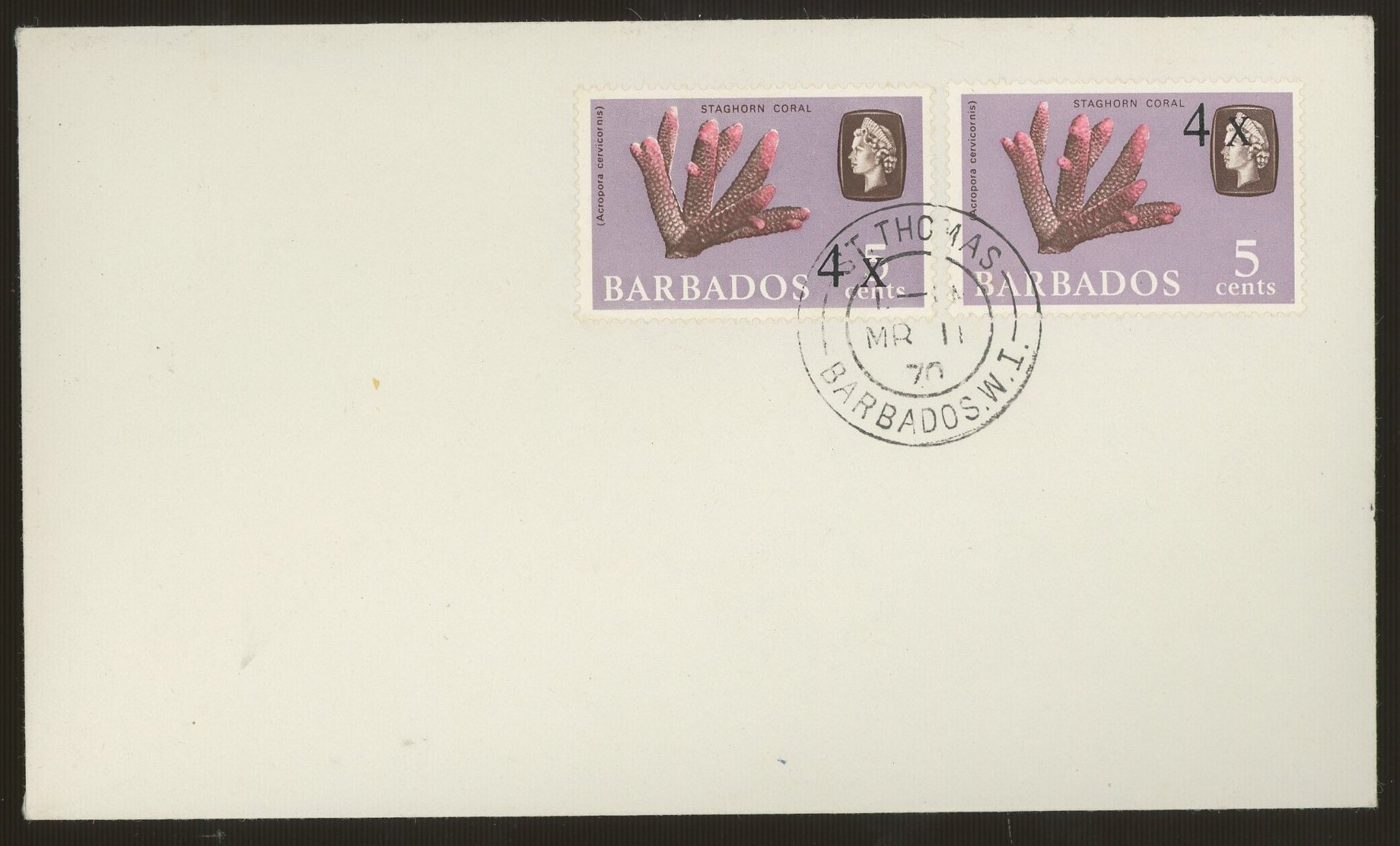 1970 4c on 5c Staghorn Coral x 2 on cover, one with surcharge by Queen's Head instead of value.