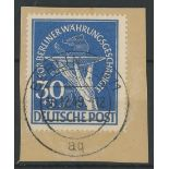 1949 Relief Fund 30pf + 5pf blue F/U on piece.