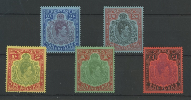 1938-53 2/-, 2/6d, 5/-, 10/- & £1 Mint, fine. 2/6d has a flaw on chin but not the listed var.