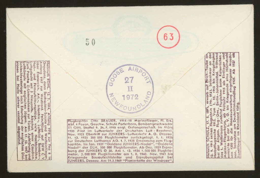 1972 RAF cover signed by 3 Luftwaffe aces (Hans Rossbach cover). Address label, fine. - Image 2 of 2