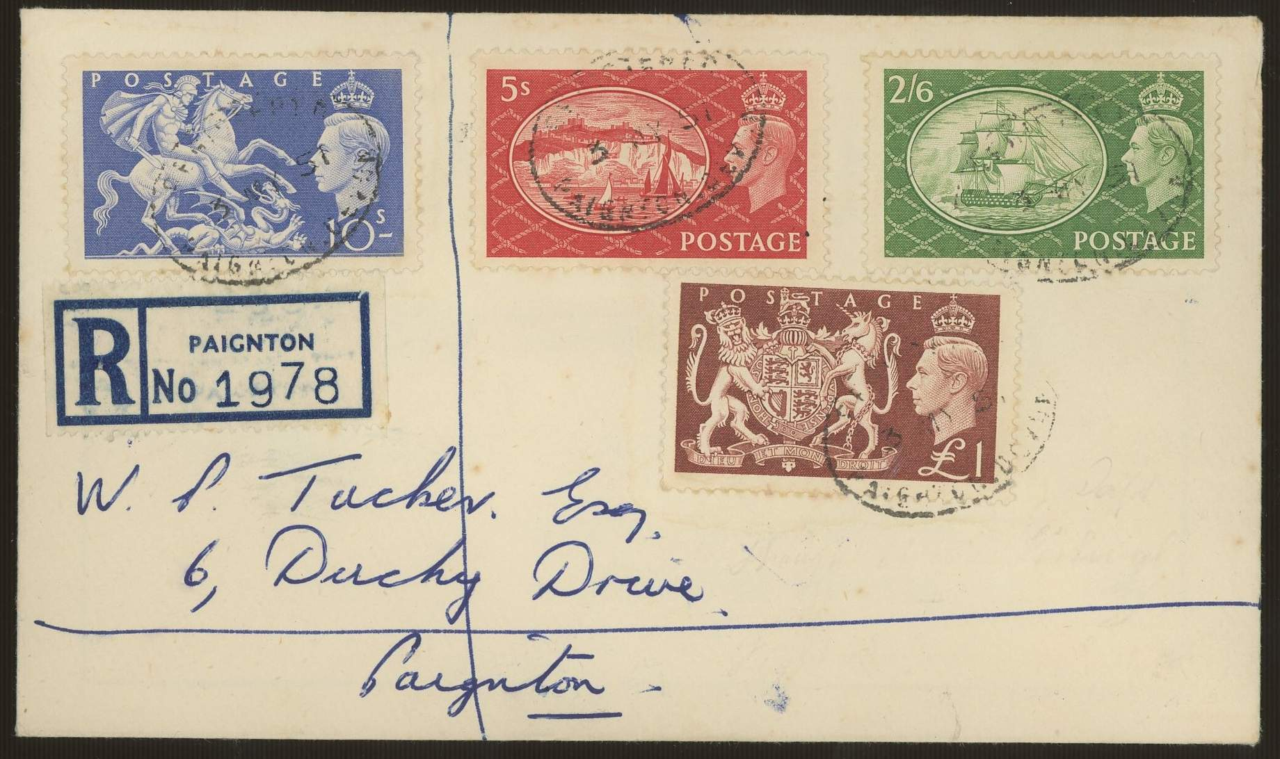 1951 Festival High Values plain FDC with Registered Paignton oval H/S. Handwritten address, fine.