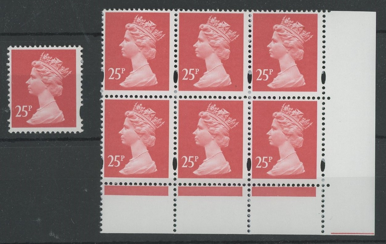 25p red OFNP/PVAD with Wide Band at Left single + bottom right corner block of 6. U/M, fine.