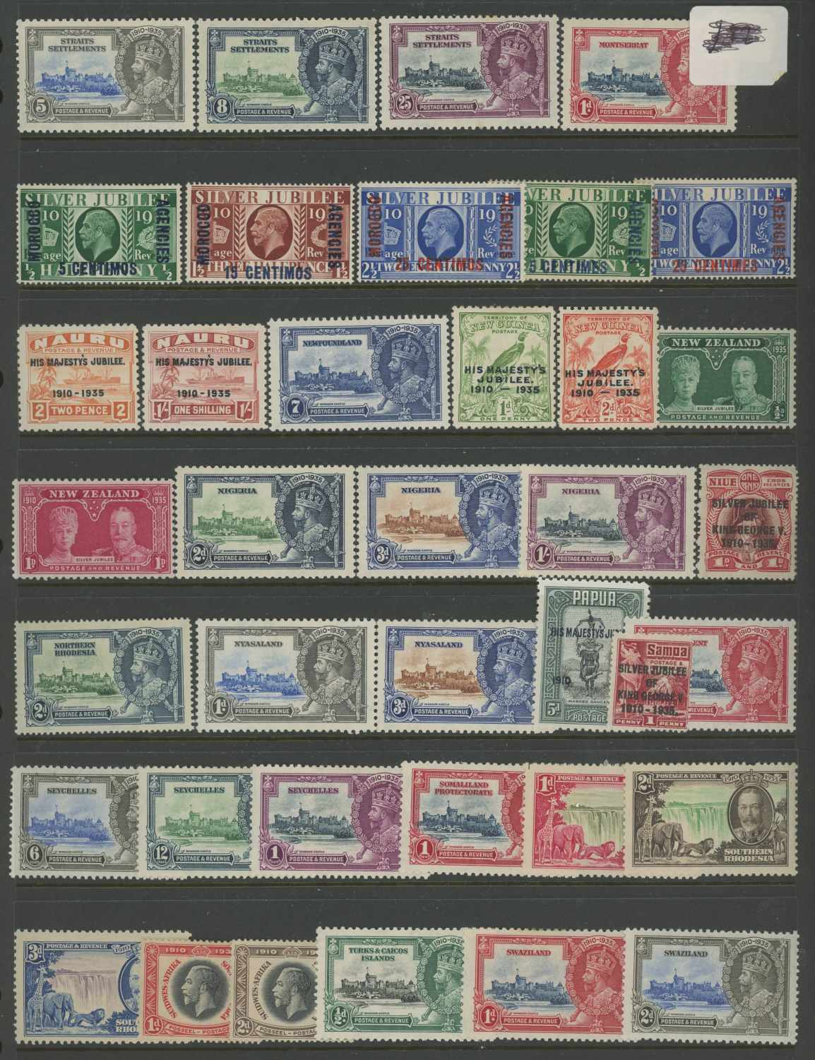1935 Silver Jubilee odd values to 1/- Mint on Hagner sheets. - Image 2 of 4