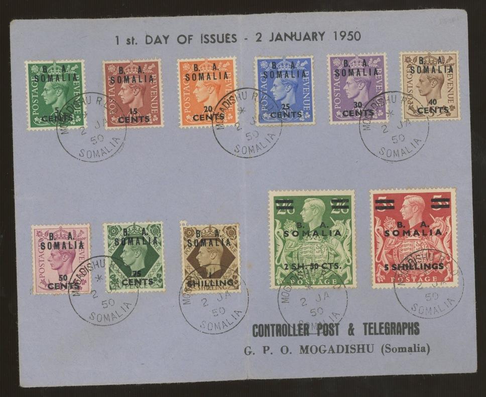 FDCs: 1950 (Jan 2nd) B A Somalia set of 11 on Display FDC with Mogadishu CDS.