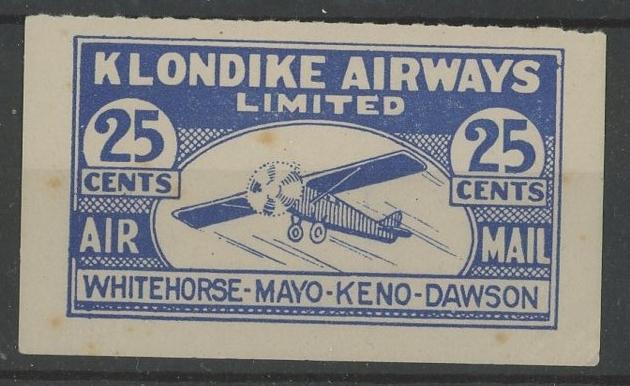 Klondike Airways 1928 25c Mint, few light tone spots.