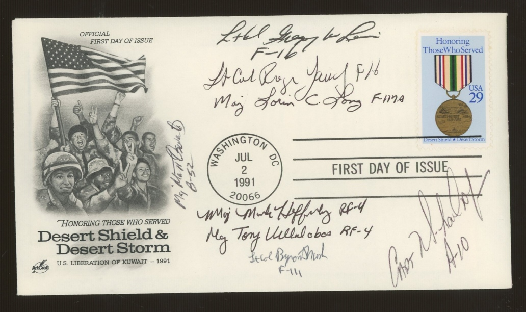 1991 USA Desert Storm FDC signed by 8 USAF Gulf participants. Unaddressed, fine.
