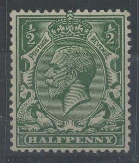 1912-22 wmk Royal Cypher ½d deep blue (myrtle) green shade Mint, fine. With 2006 RPS Cert.