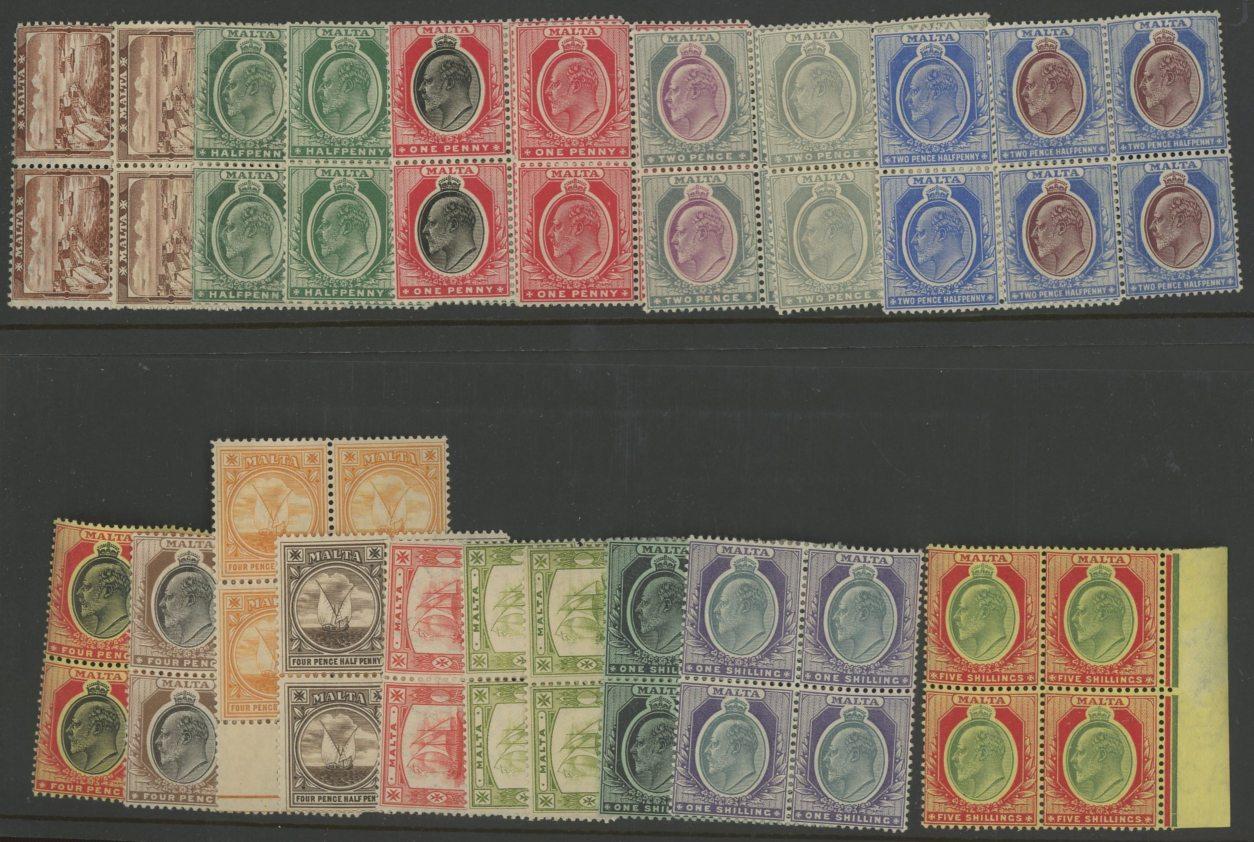 1904-14 wmk Mult Crown CA set + extra ¼d, ½d & 5d in Mint blocks of 4 (5/- U/M).