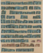 GB 1841 2d blues used on stocksheets incl.