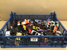 A QUANTITY OF PLAY WORN DIE-CAST TOY VEHICLES MATTEL, MAISTO, AND MAJORETTE