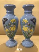 A PAIR OF BLUE HANDPAINTED GLASS VASES DECORATED WITH FLOWERS AND BUTTERFLIES 36CM
