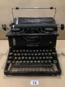 A BLACK TYPEWRITER BY THE IMPERIAL TYPEWRITER CO.LTD LEICESTER ENGLAND