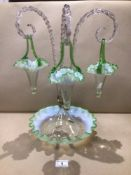 AN OPAQUE GLASS EPERGNE WITH THREE SWINGING BASKETS 46CM HIGH