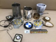 MIXED COLLECTIBLE OF ITEMS, AA AND BMW BADGES, MAPPIN AND WEBB, TANKARD AND A VINTAGE WESTCLOX