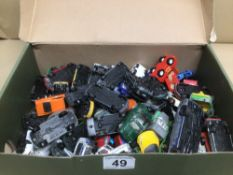 A QUANTITY OF PLAY WORN DIE-CAST TOY VEHICLES, CORGI AND MAJORETTE AND MORE