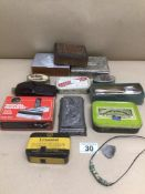 MIXED BOX OF METAL BOXES, RECORD CLEANING MACHINE, AND GLASS AVON BOTTLE