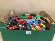 A LARGE QUANTITY OF BRIO WOODEN TRAINS